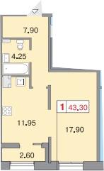 1-комнатная, 42.8 м²– 2