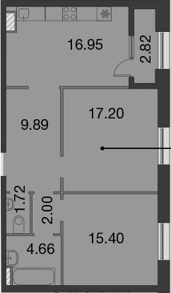 3-к.кв (евро), 70.64 м²