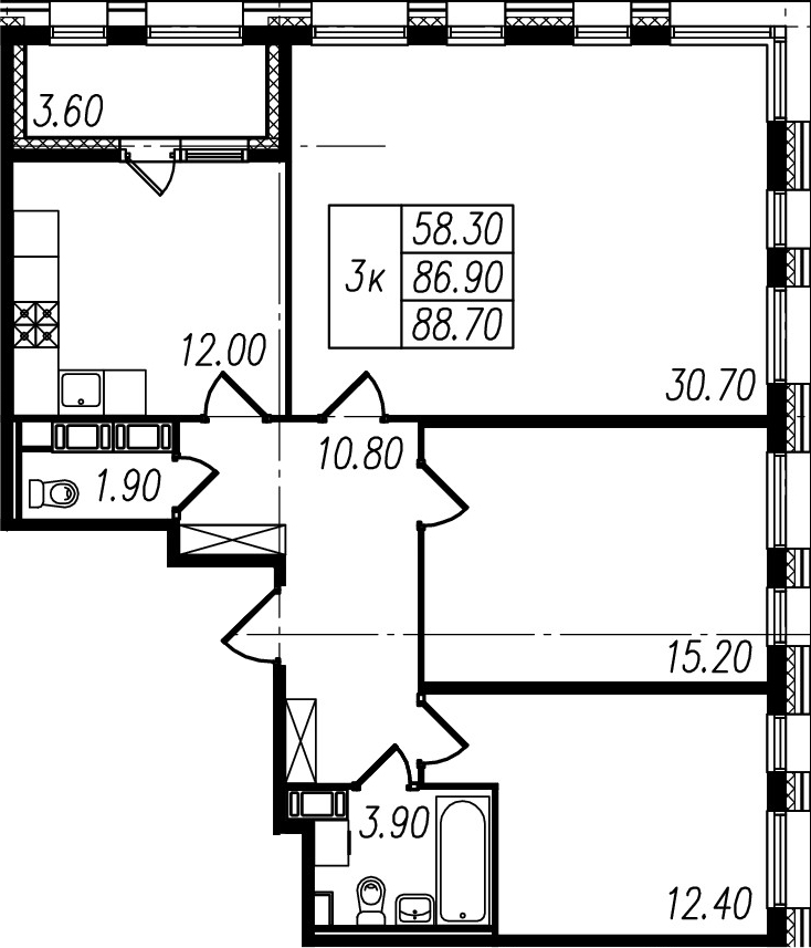 3-к.кв, 86.9 м², 10 этаж