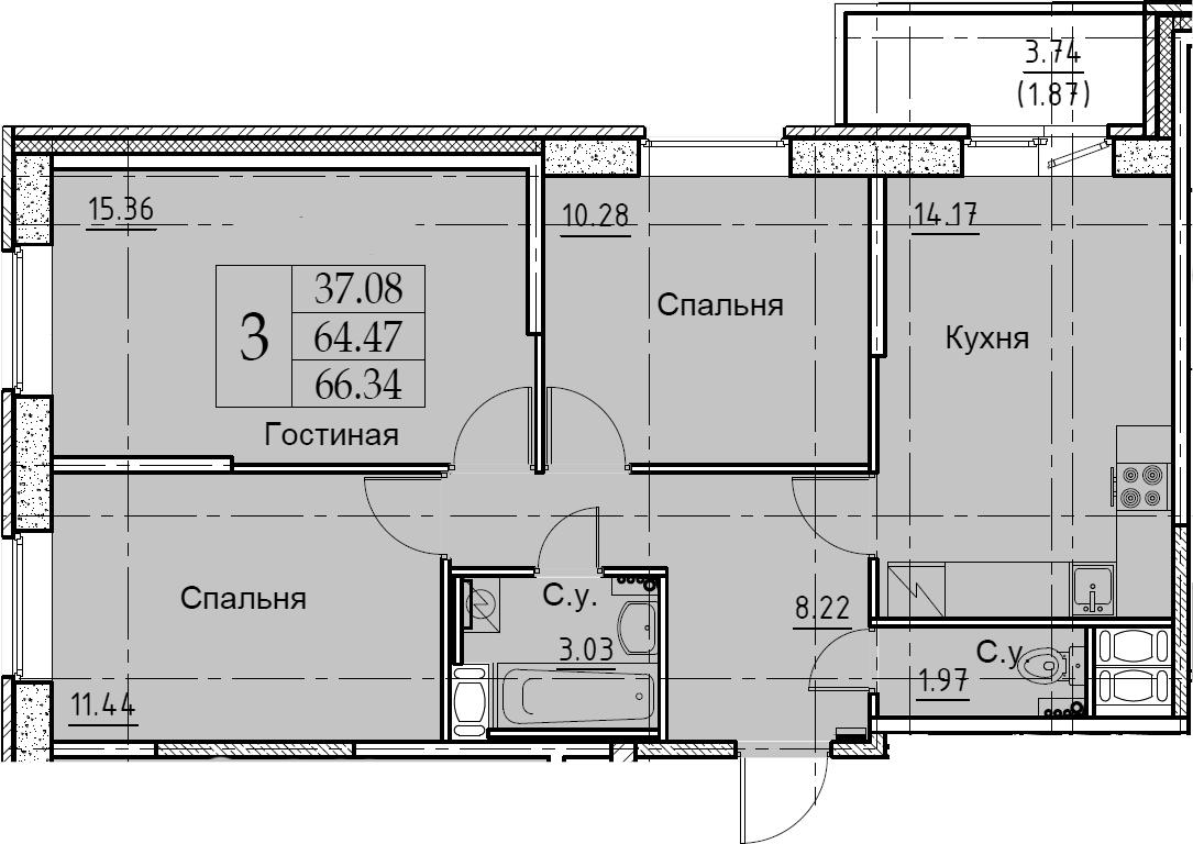 3-к.кв, 66.34 м², от 8 этажа