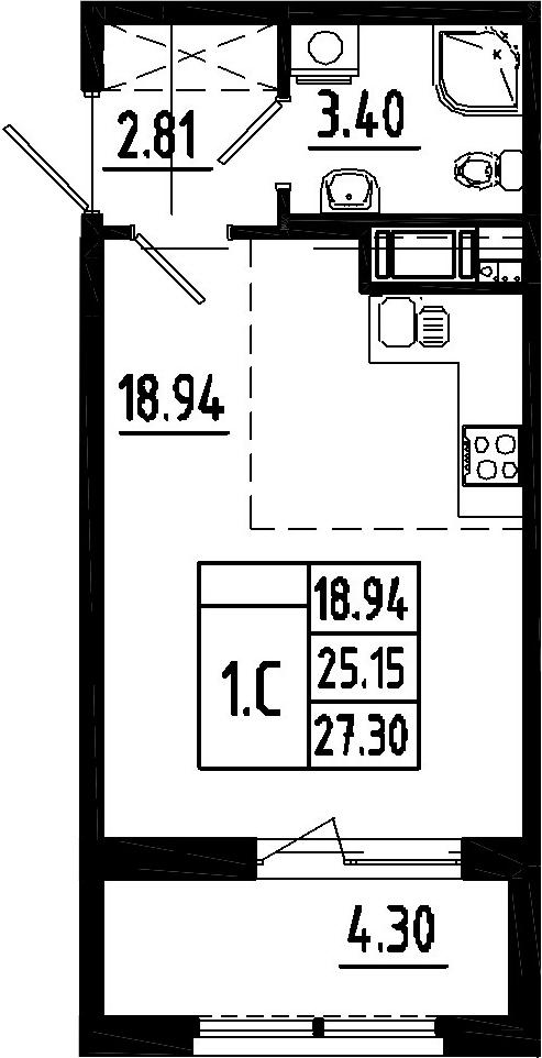 Студия, 25.15 м²