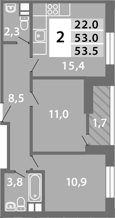 3-к.кв (евро), 54.52 м²