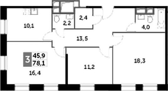 3-к.кв, 78.1 м², 14 этаж