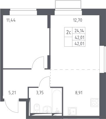 2Е-комнатная, 42.01 м²– 2