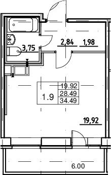 Студия, 28.49 м², от 10 этажа