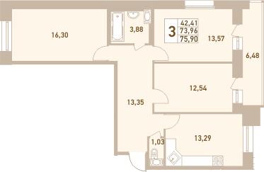 3-комнатная, 75.9 м²– 2