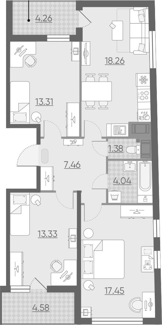 4Е-к.кв, 79.65 м²