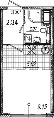 Студия, 20.08 м²– 2