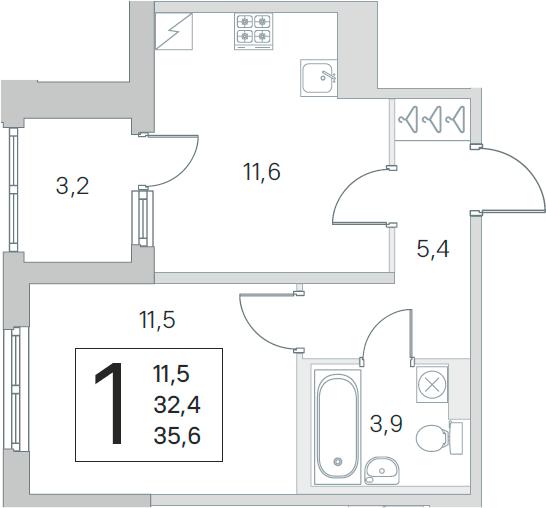 2Е-к.кв, 32.4 м², 1 этаж