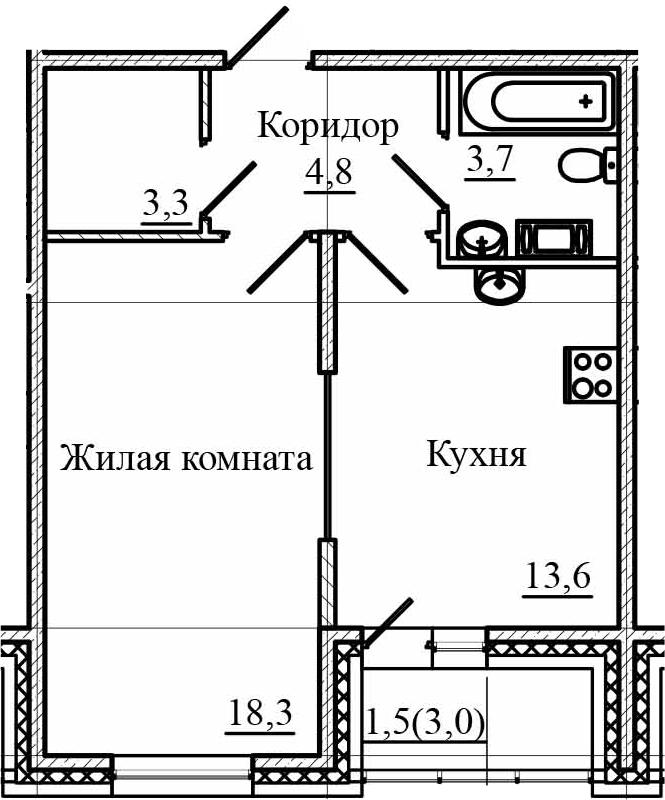 1-к.кв, 46.7 м²