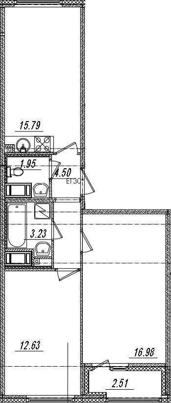 3Е-комнатная, 56.34 м²– 2