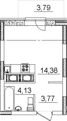 Студия, 26.06 м²