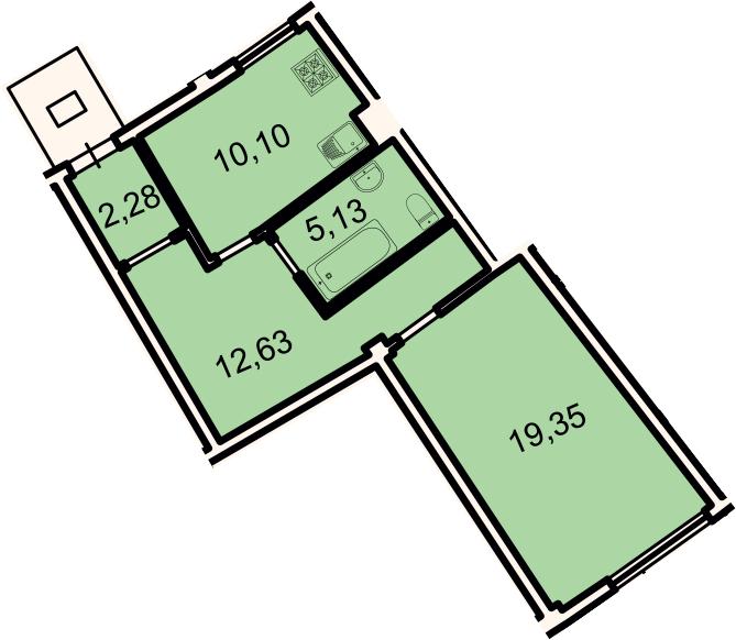 1-к.кв, 49.4 м²