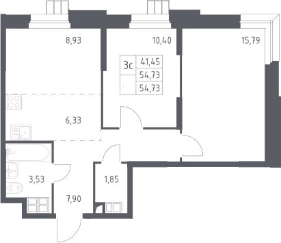 3Е-к.кв, 54.73 м², 4 этаж