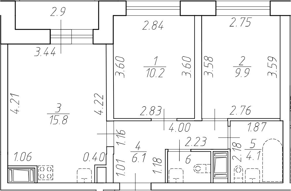 3Е-к.кв, 47.8 м²