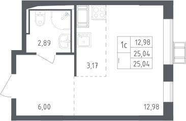 Студия, 25.04 м², 16 этаж