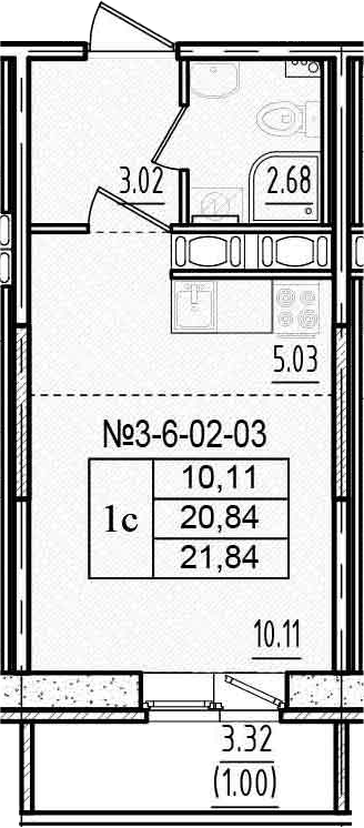 Студия, 24.17 м²