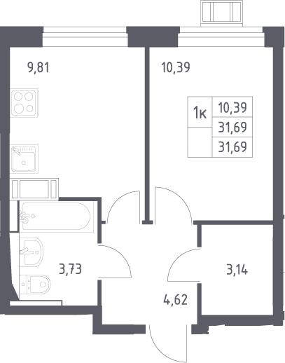 1-комнатная, 31.69 м²– 2