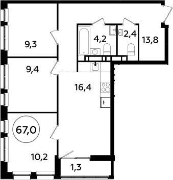 4Е-к.кв, 67 м², 22 этаж