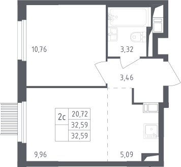 2Е-комнатная, 32.59 м²– 2