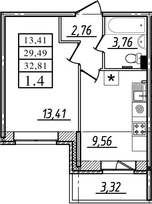1-к.кв, 29.49 м²