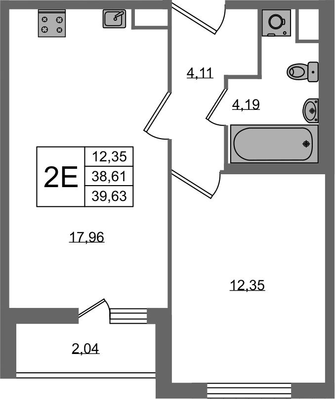 2-к.кв (евро), 40.65 м²