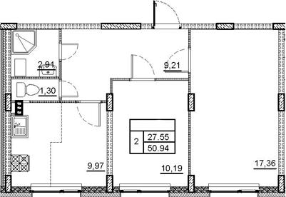 2-комнатная, 50.94 м²– 2