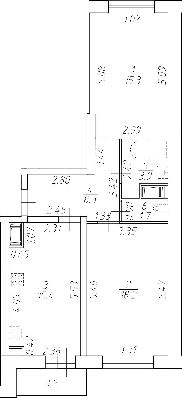3Е-к.кв, 62.8 м²
