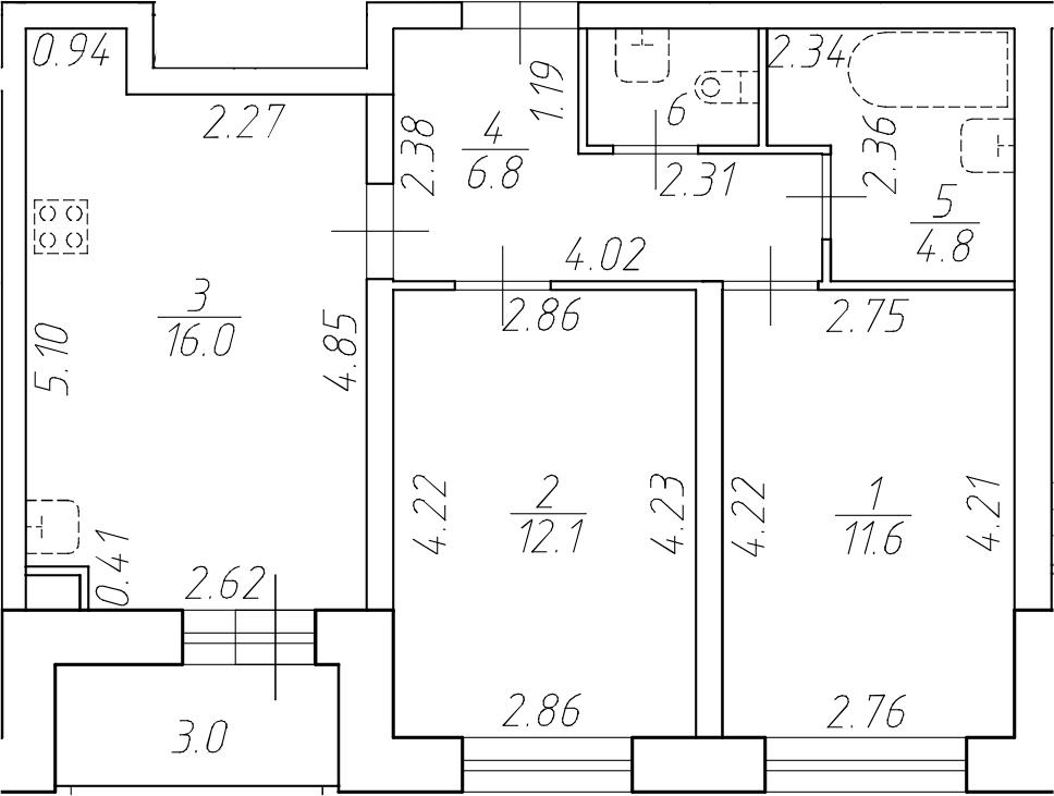 3Е-комнатная, 53.1 м²– 2