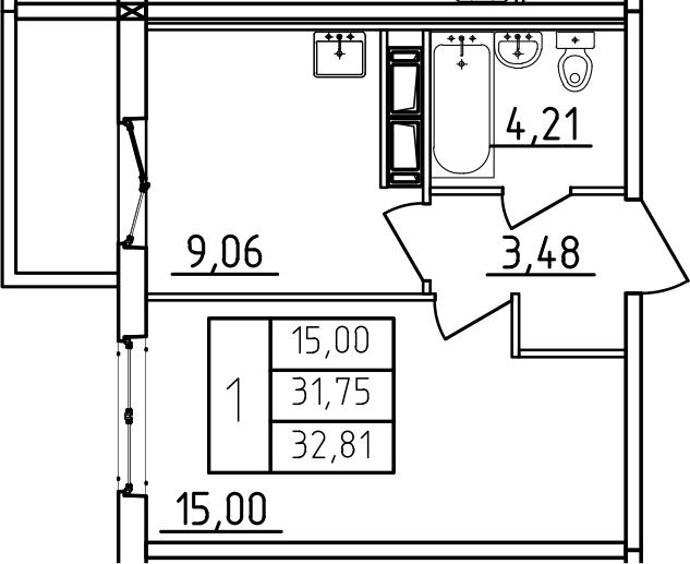 1-к.кв, 32.81 м², 7 этаж