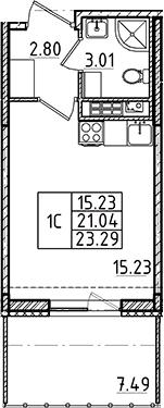 Студия, 21.04 м²