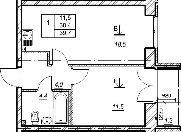 1-к.кв, 39.7 м², 2 этаж