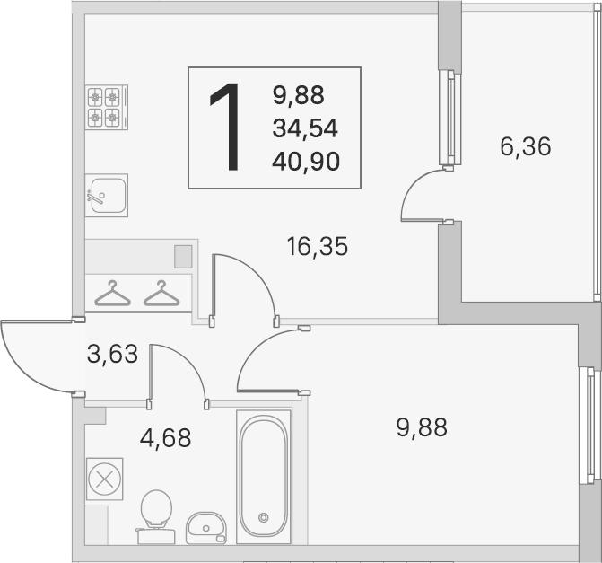2Е-к.кв, 34.54 м², 2 этаж