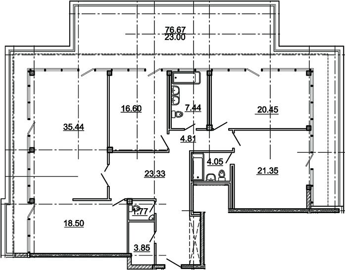 4-комнатная, 157.59 м²– 2