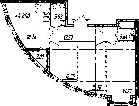 4Е-комнатная, 87.42 м²– 2