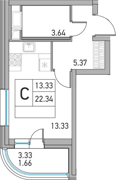 Студия, 22.34 м²