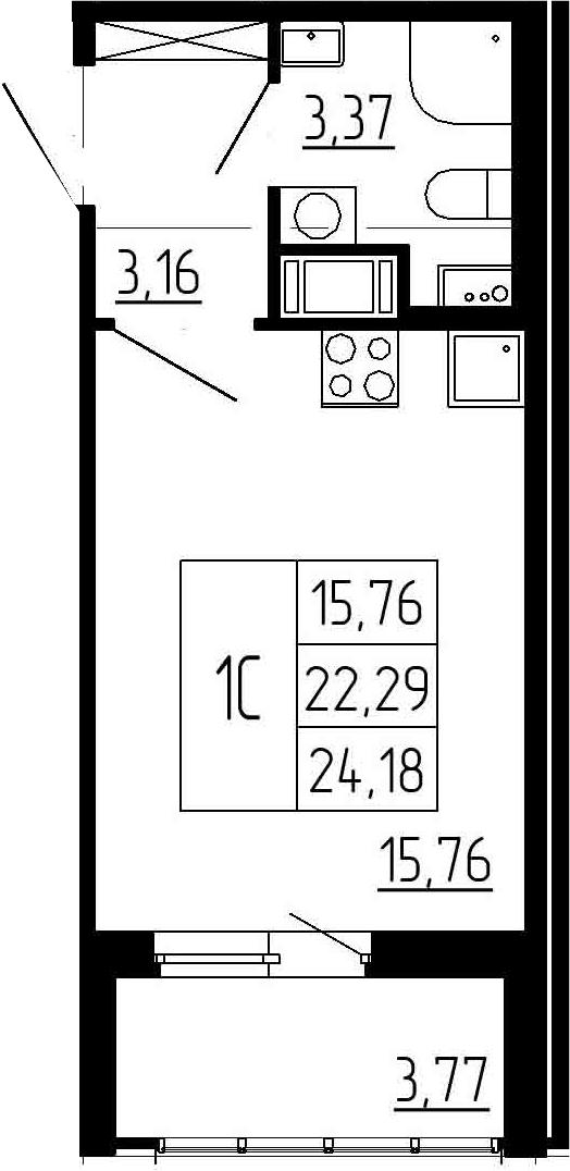 Студия, 22.29 м²– 2