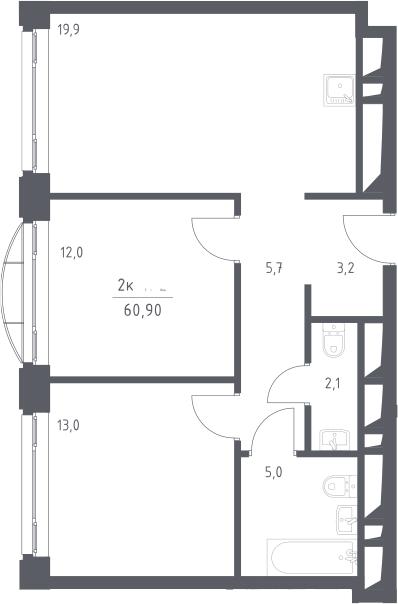 3Е-к.кв, 60.9 м², 17 этаж