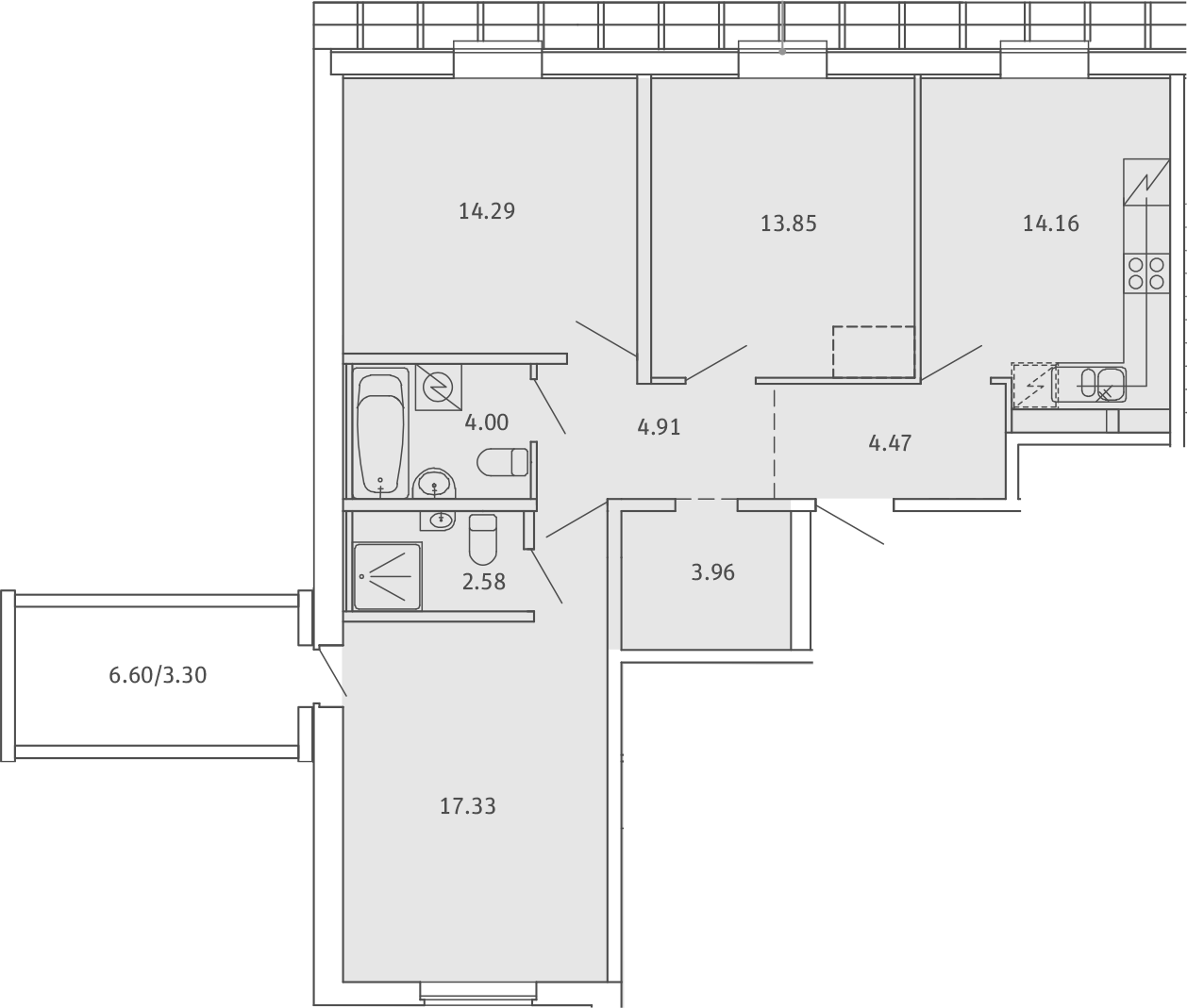 4Е-комнатная, 82.85 м²– 2