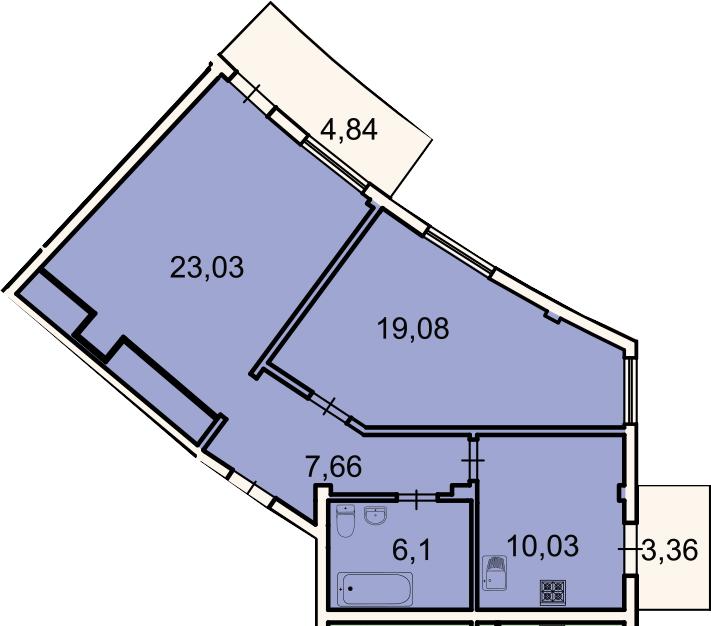 2-к.кв, 68.4 м², 2 этаж