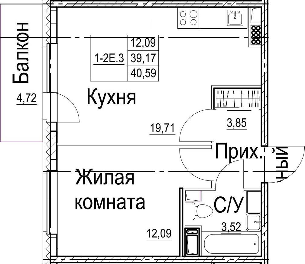 2-к.кв (евро), 43.89 м²