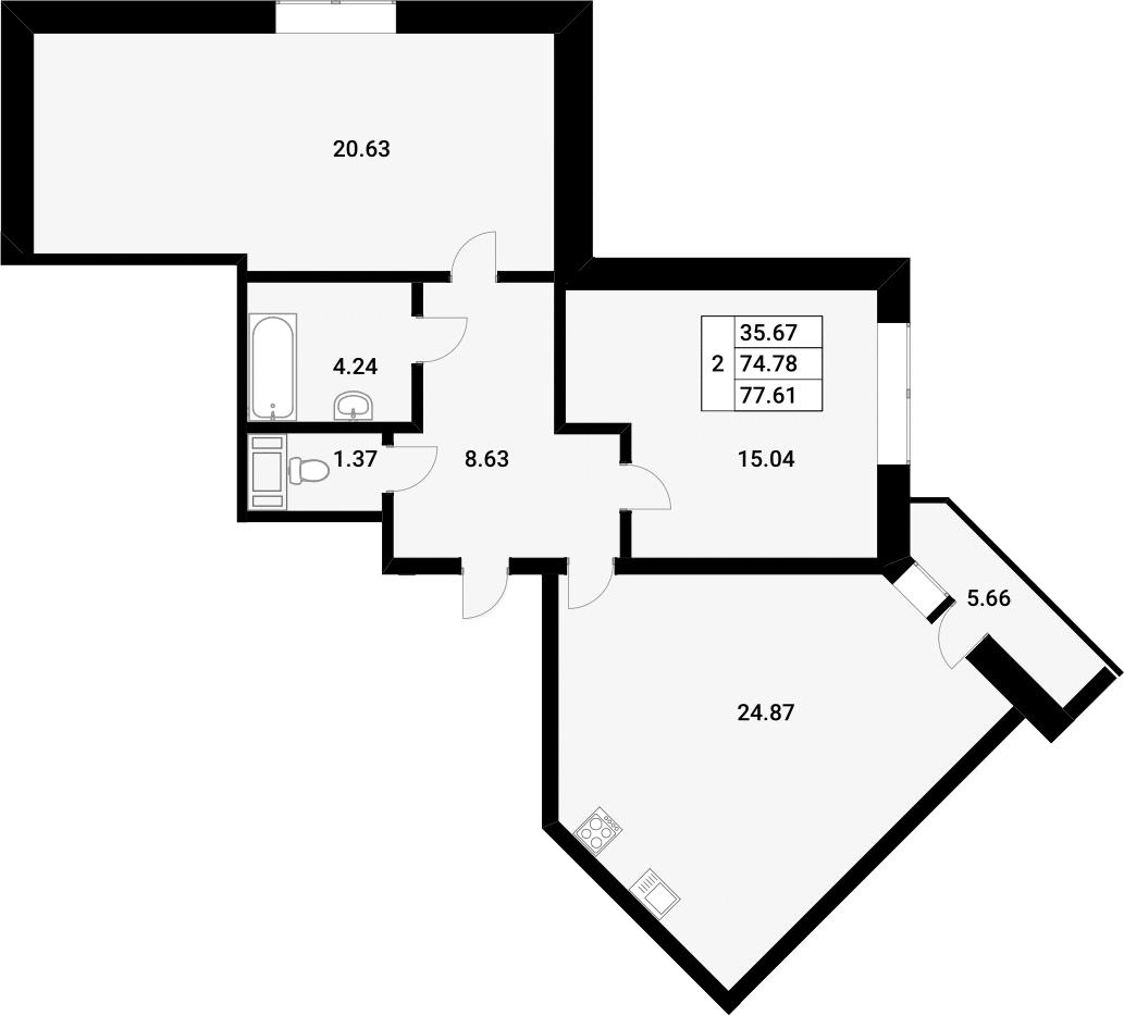 3-к.кв (евро), 80.13 м²
