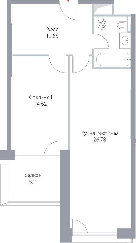 2Е-к.кв, 63.09 м², 14 этаж