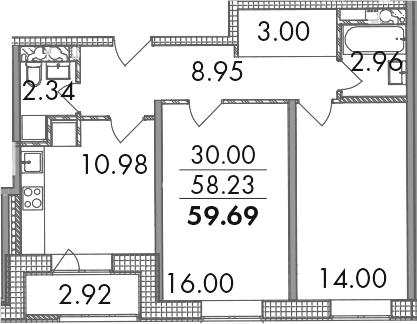 2-комнатная, 59.69 м²– 2