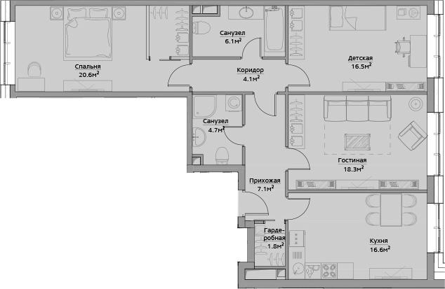 4Е-комнатная, 95.8 м²– 2