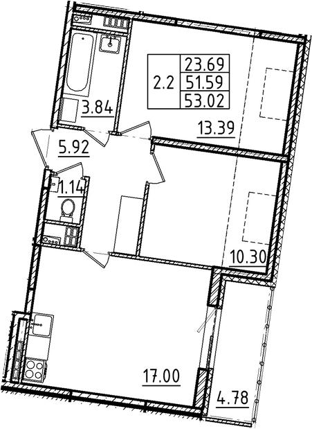 3Е-комнатная, 53.02 м²– 2