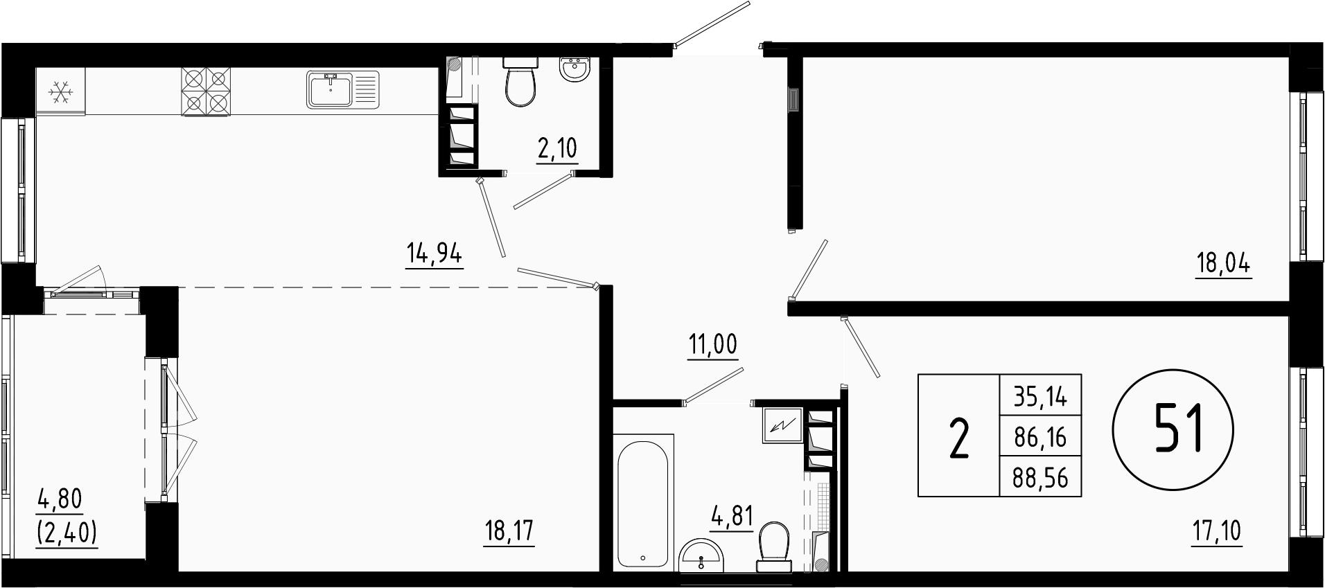 3Е-комнатная, 86.6 м²– 2