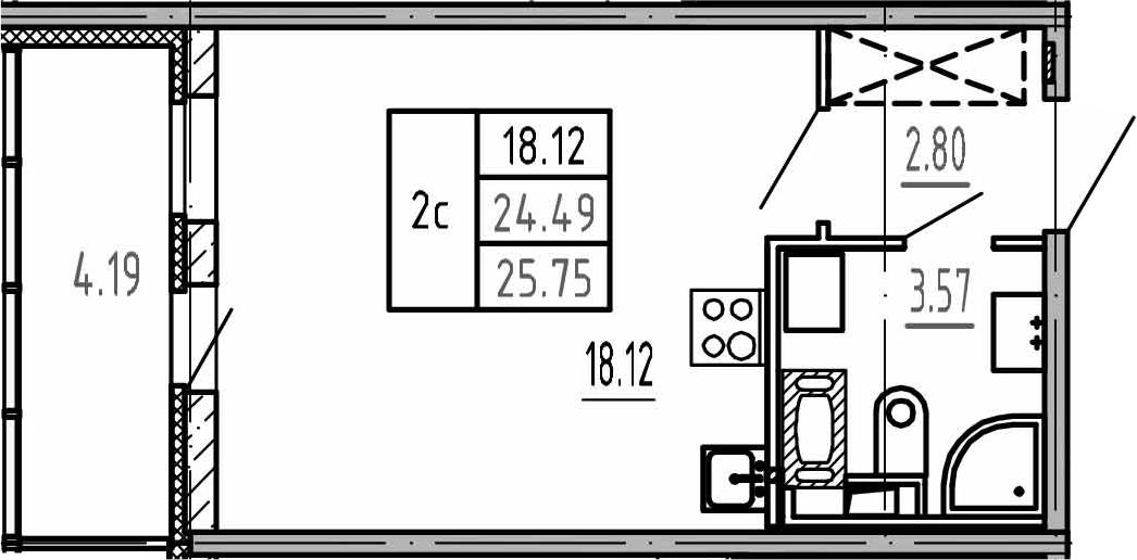 Студия, 24.49 м², 4 этаж