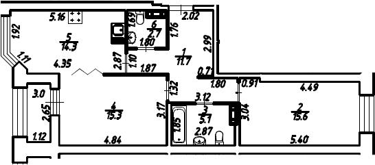 2-к.кв, 66.2 м², 3 этаж
