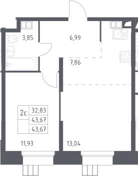 2Е-комнатная, 43.67 м²– 2